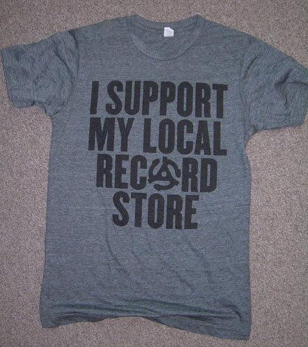 I Support My Local Record Store on a charcoal ringspun cotton shirt (Record Store Day 2015) - Size M only