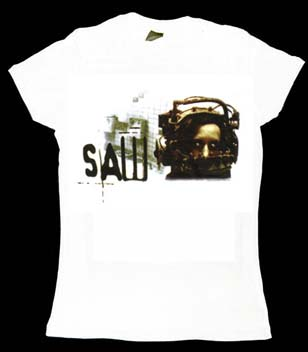 Saw- Head on a white girls fitted shirt (Sale price!)