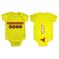 Beatles- Yellow Submarine on a yellow onesie (S=0-6 mo, M=6-12 mo, L=12-18 mo, XL=18-24 mo)