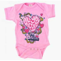 Beatles- All You Need Is Love on a light pink onesie (S=0-6 mo, M=6-12 mo, L=12-18 mo, XL=18-24 mo)