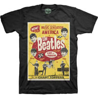 Beatles- Chart Toppers on a black ringspun cotton shirt