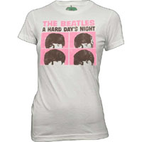 Beatles- A Hard Day's Night on a white girls fitted shirt