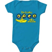 Beatles- Yellow Submarine on a blue onesie (S=0-6 mo, M=6-12 mo, L=12-18 mo, XL=18-24 mo)