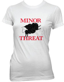 Minor Threat- Black Sheep on a white girls fitted shirt