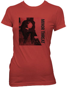 Minor Threat- Album Cover on a red girls fitted shirt