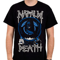 Napalm Death- Life II (White & Blue Print) on a black shirt (Sale price!)