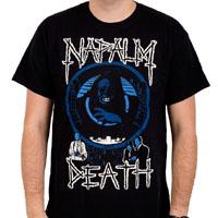 Napalm Death- Life II (White & Blue Print) on a black shirt