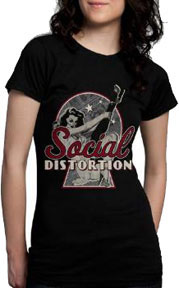 Social Distortion- Keyhole Pinup on a black girls fitted shirt