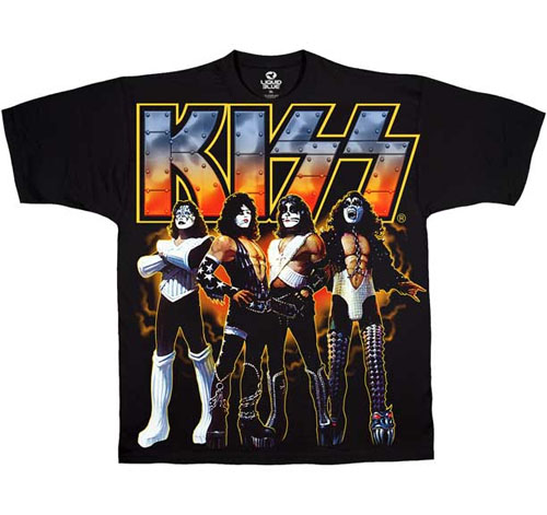 Kiss- Love Gun Band Pic on a black shirt