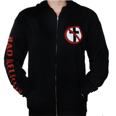 Bad Religion- Cross Buster on front, Logo on sleeve on a black zip up hooded sweatshirt