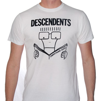 Descendents- Everything Sucks on a white ringspun cotton shirt