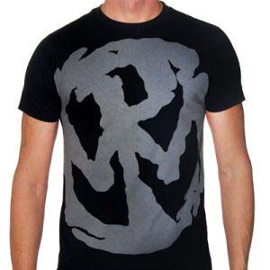 Pennywise- Grey Discharge Print Oversize Symbol on a black ringspun cotton shirt