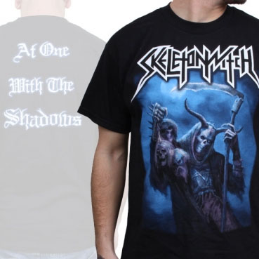 Skeletonwitch- Skeleton on front, At One With The Shadows on back on a black shirt
