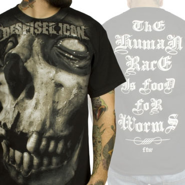 Despised Icon- Large Skull on front, Human Race on back on a black shirt (Sale price!)