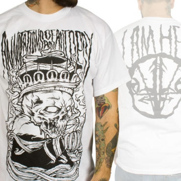 Annotations Of An Autopsy- Crown Skull on front, I Am Hell on back on a white shirt (Sale price!)