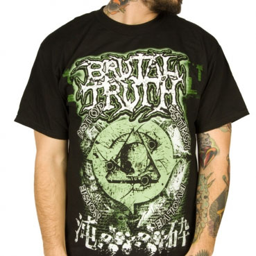 Brutal Truth- Green Skull on a black shirt (Sale price!)