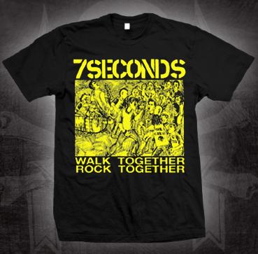 7 Seconds- Walk Together Rock Together on a black shirt (Sale price!)