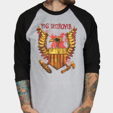 Pig Destroyer- Eagle on a grey/black 3/4 sleeve shirt