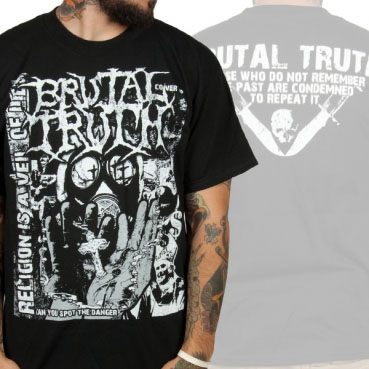 Brutal Truth- Religion Is A Veil Of Lies on front, Logo on back on a black shirt (Sale price!)