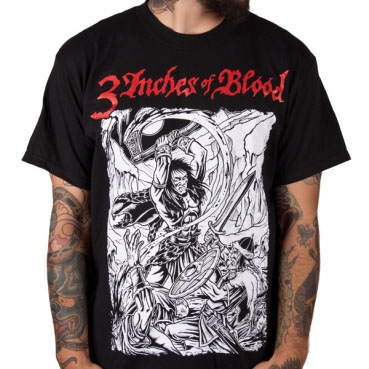 3 Inches Of Blood- Iceman (White Pic) on a black shirt