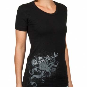 Black Pacific- Octopus on a black girls fitted shirt (Sale price!)
