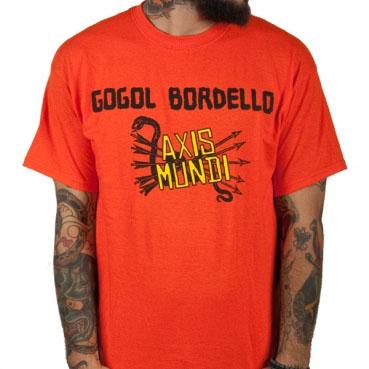Gogol Bordello- Axis Mundi on an orange shirt (Sale price!)
