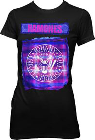 Ramones- Plaid Seal on a black girls fitted shirt (Sale price!)