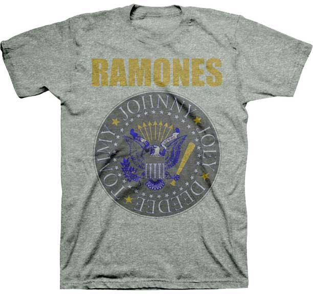 Ramones- Yellow & Blue Seal on a heather grey ringspun cotton shirt (Sale price!)