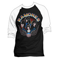Ramones- 1977 Wings Pic on a black/white raglan 3/4 Sleeve Shirt