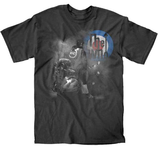 Who- Quadrophenia & Mod Logo on a black slim fit shirt