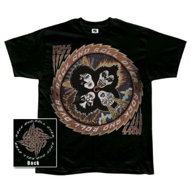 Kiss- Rock And Roll Over on front, Symbol on back on a black shirt (Sale price!)
