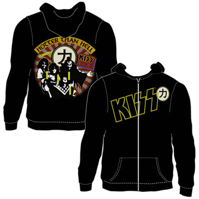 Kiss- Logo on front, Hotter Than Hell on back on a black zip up hooded sweatshirt (Sale price!)