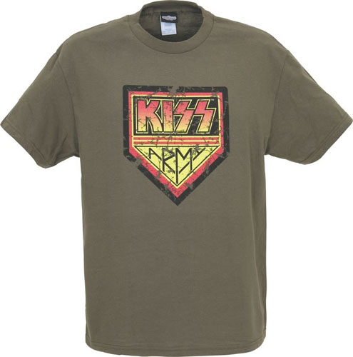 Kiss- Kiss Army (Distressed Print) on an overdyed vintage army green shirt (Sale price!)