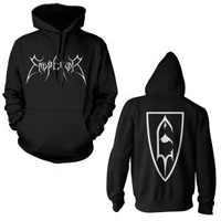 Emperor- Logo on front, Symbol on back on a black hooded sweatshirt