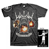 Watain- Sworn To The Dark on front, To The Death on back on a black shirt