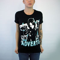 Adverts- Band Pics on a black girls fitted shirt