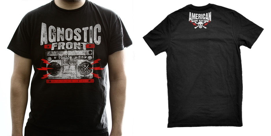 Agnostic Front- Ghetto Blaster on front, American Made Kustoms on back on a black shirt