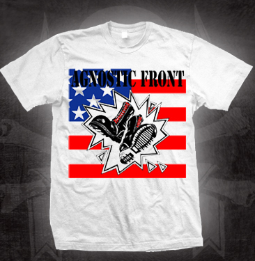 Agnostic Front- Boots And Flag on a white shirt (Sale price!)
