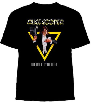 Alice Cooper- Welcome To My Nightmare (Alice In Triangle) on a black shirt