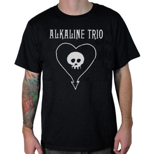Alkaline Trio- Classic White Heartskull on a black ringspun cotton shirt