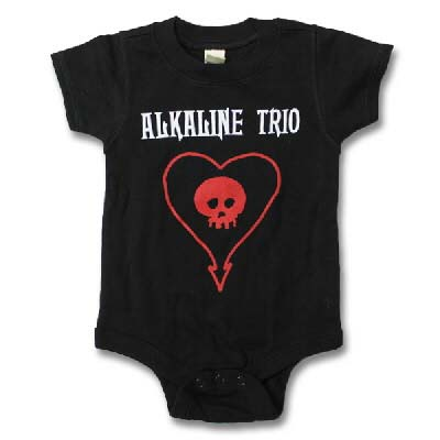 Alkaline Trio- Heartskull on a black onesie (XS: Newborn, S:3-6m, M:6-12m, L:12-18m, XL:18-24m)