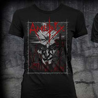 Amebix- Face With Crucifixions on a black girls fitted shirt