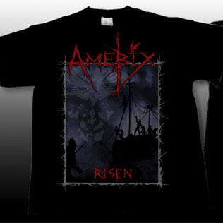 Amebix- Risen on front, Chained Bird on back on a black YOUTH sized shirt