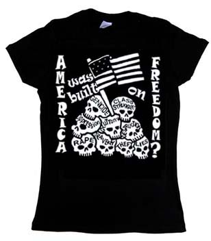 America Was Built On Freedom? on a black girls fitted shirt