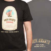 Amon Amarth- Vodka on front, Logo on back on a black shirt (Sale price!)