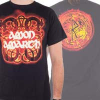 Amon Amarth- Fire Horses on front, Flaming Knot on back on a black shirt