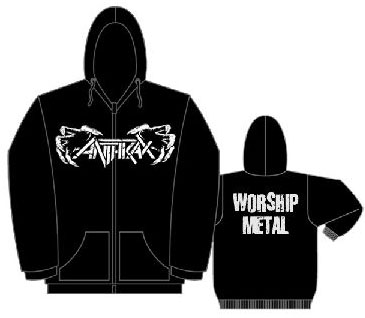 Anthrax- Claws on front, Worship Metal on back on a black zip up hooded sweatshirt (Sale price!)