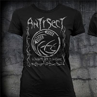 Antisect- In Darkness There Is No Choice on front, Lyrics on back on a black girls fitted shirt