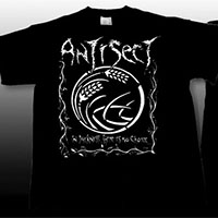 Antisect- In Darkness There Is No Choice on front, Lyrics on back on a black shirt