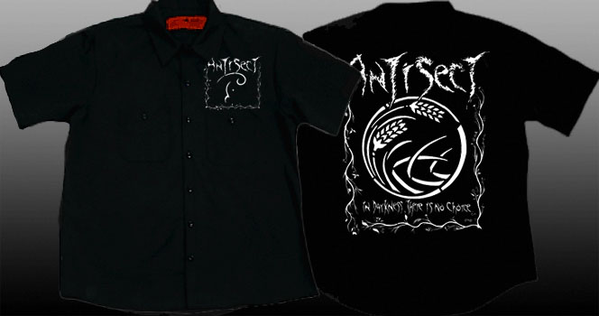 Antisect- Logo on front, In Darkness There Is No Choice on back on a black short sleeve work shirt (Sale price!)
